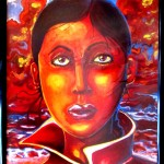"""Crimson Cloud"" oil on canvas by visual artist rEN"