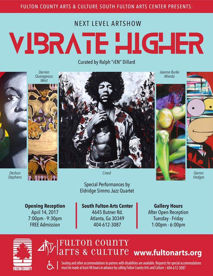 Vibrate Higher exhibition April 14th 2017 at South Fulton Art Center