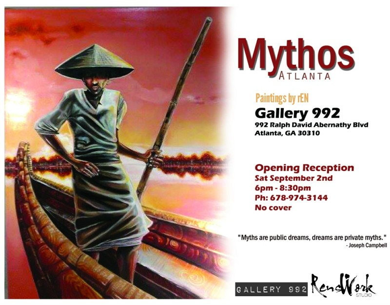 """PRESS RELEASE: Gallery 992 presents: MYTHOS ATLANTA MYTHOS: a pattern of beliefs expressing often symbolically the characteristic or prevalent attitudes in a group or culture The """"MYTHOS"""" exhibit is a collection of works assembled from four different series by ATL visual artist Ralph """"rEN"""" Dillard. Mythos aims to initiate a dialogue between the individual viewer, and society's deeper sense of a larger mythological entanglement with others. This body of work tackles some of the more common iconic religious and spiritual symbols, but also offers up fresh imagery. """"We are so excited to have the phenomenal work of rEN grace the walls of Gallery 992. It's refreshing to engage such a visually articulate talent. It's our pleasure to share his creative voice to the community at large. I personally feel that as the story telling aspect of this body of work unfolds, it will speak to the deeper consciousness of our viewers, invoking both a joy & a remembrance of the way."""" Gallery owner & curator Ragenia Waddada Inspired by the philosophy of comparative religion scholar Joseph Campbell, the Mythos exhibition first debuted last May in Macon Georgia at Ampersand Gallery. The eclectic Gallery 992 will offer the first viewing of the collection in Atlanta! """"If our idea of God is a metaphor for that which transcends all levels of intellectual thought, then the job of the artist is to help folks move beyond intellectual thought alone. Most people are not looking for the meaning of life as much as they are looking for the experience of being alive. We don't think alive, we feel alive! Mythos speaks to that."""" - rEN. With swirling surrealistic landscapes and thought provoking imagery, MYTHOS intends to help trigger a authentic reconnection with that feeling! Exhibition title: Mythos [Atlanta] Opening Date: 9/2/2017 - 6pm - 8:30pm Location: Gallery 992 Address: 992 Ralph David Abernathy Blvd Atlanta, Georgia 30310 Phone number for details: 678-974-3144 or 678-755-3146 Free Admission Curat"""
